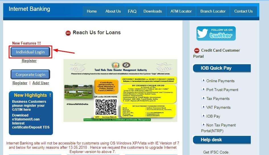 IOB Net Banking - Individual Login
