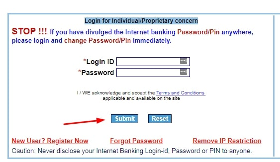 IOB Net Banking - Login Form