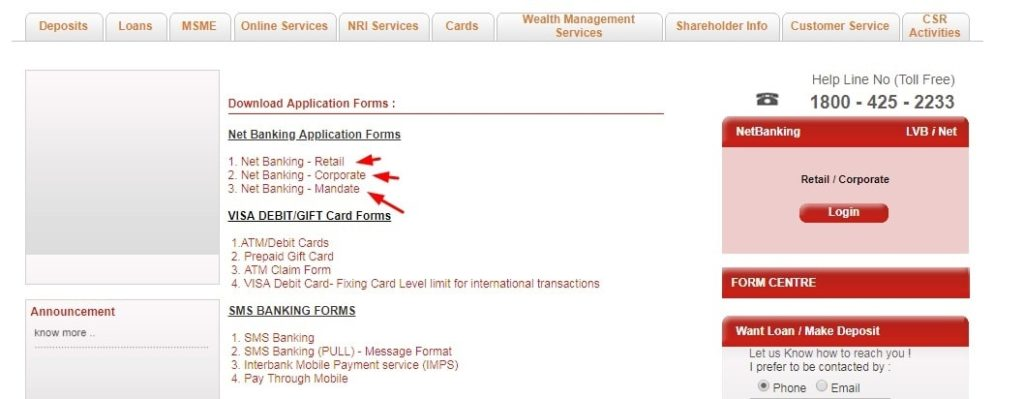 LVB Net Banking Application Forms