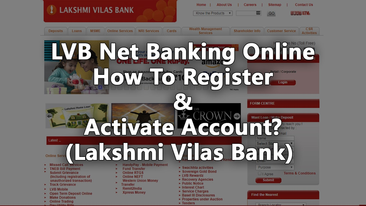 LVB Net Banking Online – How To Register & Activate Account (Lakshmi Vilas Bank)