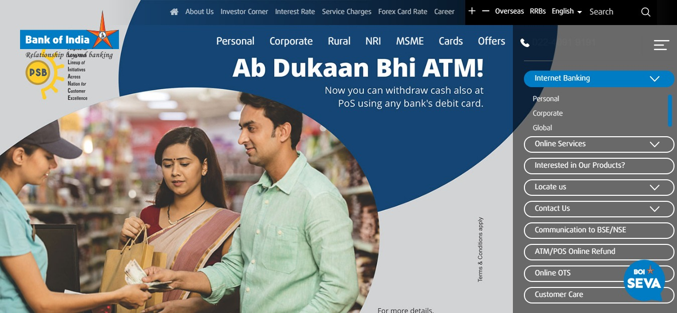 BOI Net Banking Online – How To Register & Activate Account? – Bank of India