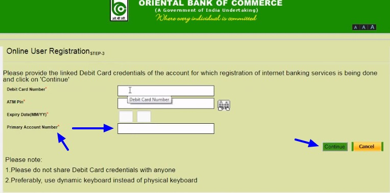 OBC Net Banking Online – How To Register & Activate Account? – Oriental Bank of Commerce 5
