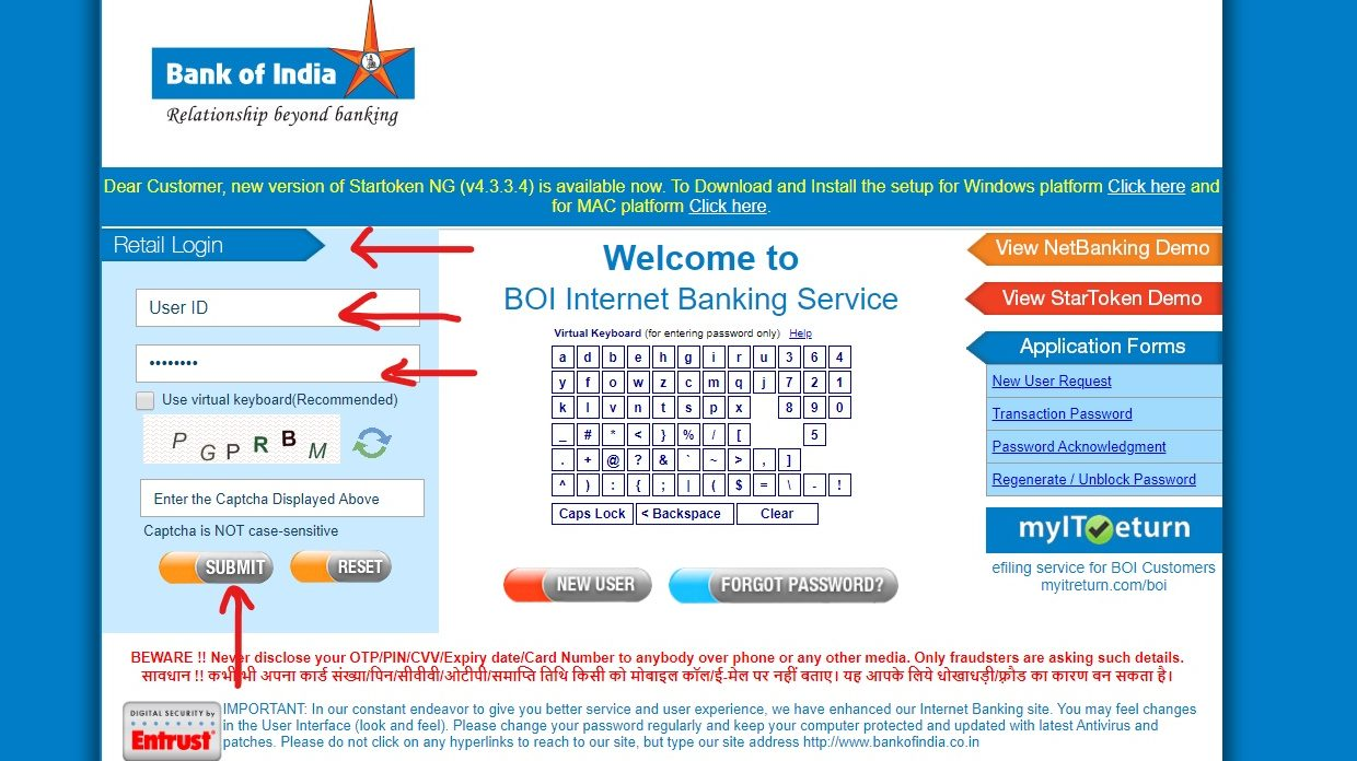 BOI Net Banking Online – How To Register & Activate Account? – Bank of India 4