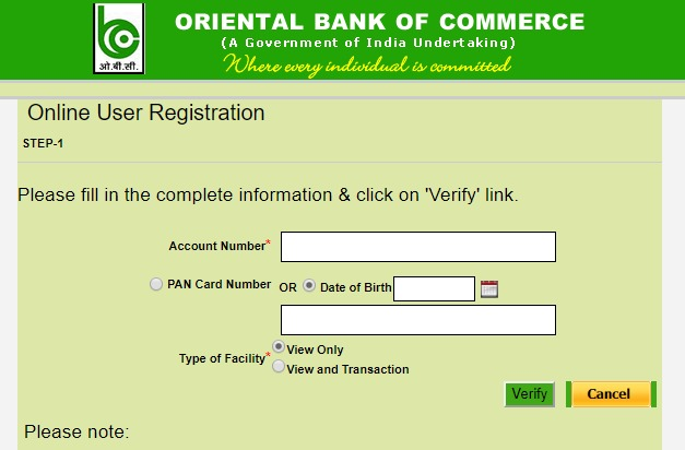 OBC Net Banking Online – How To Register & Activate Account? – Oriental Bank of Commerce 3