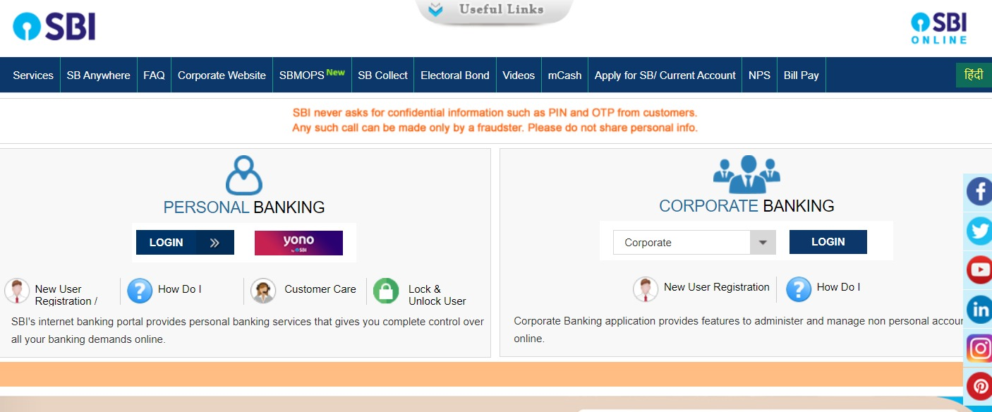 SBI Net Banking Online – How To Register & Activate Account? – State Bank of India 1