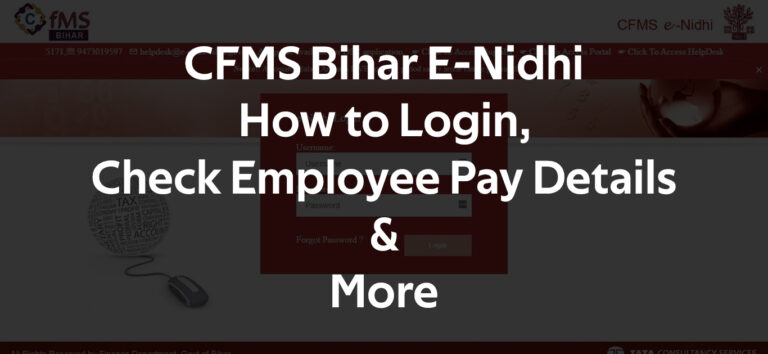 CFMS Bihar E-Nidhi How to Login, Check Employee Pay Details & M