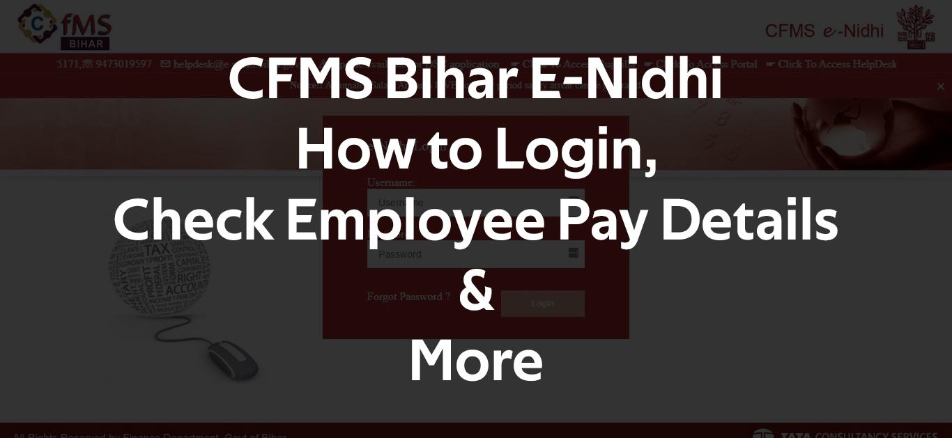 CFMS Bihar E-Nidhi How to Login, Check Employee Pay Details & M